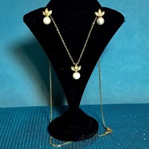 Costume Pearl Necklace and Earrings